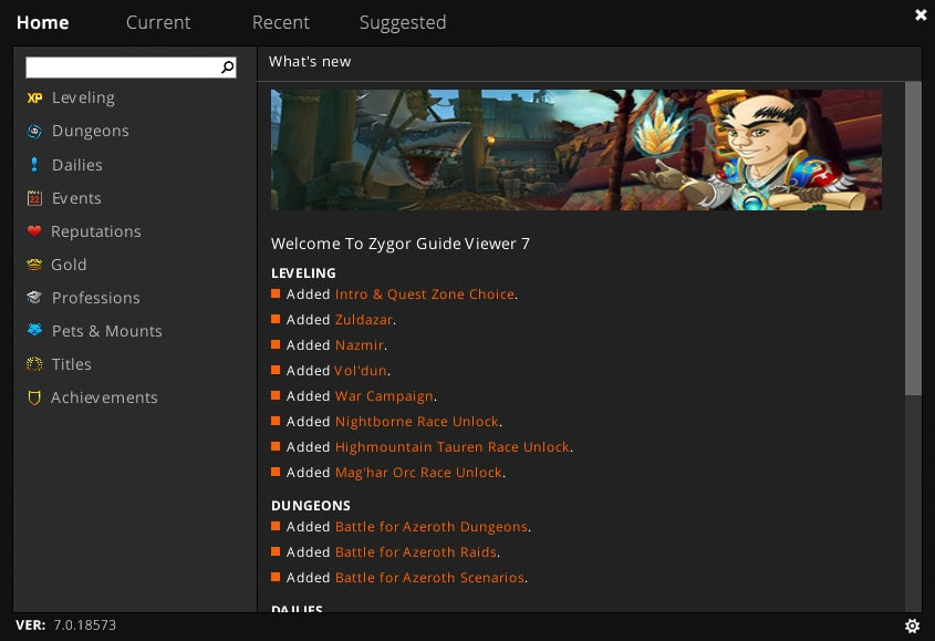 Main Zygor Guides Screen Menu