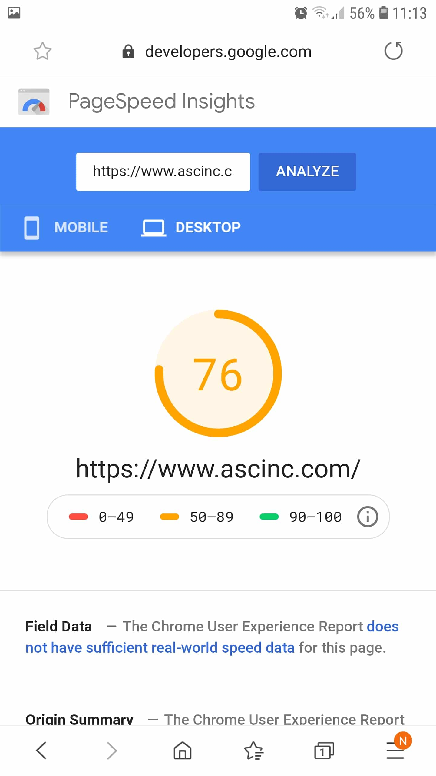 PageSpeed Without WP Rocket - desktop