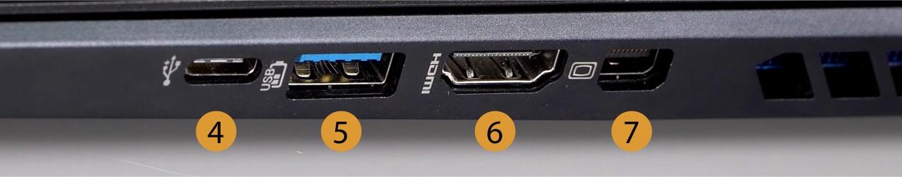 Acer Predator Helios 300 Right Connectors