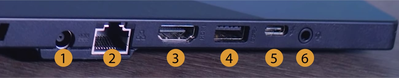 Asus TUF Dash F15 connectors left