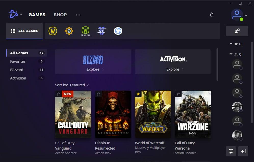 Battle.net App - Main Screen