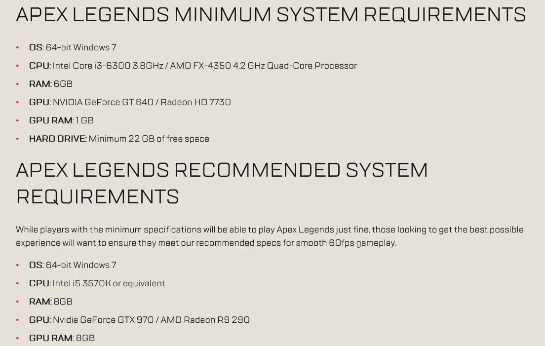 Apex Legends System Requirements - Windows